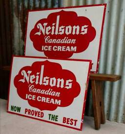 Large Vintage Canadian Metal Ice Cream Sign. Two Available In Great Condition