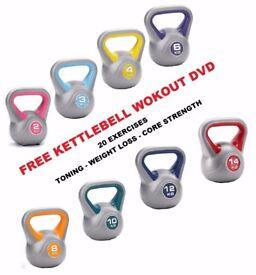 Vinyl Kettlebells Home Gym Training 2kg - 14kg Weight Fitness Kettlebell Free DVD