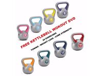 Vinyl Kettlebells Home Gym Training 2kg - 14kg Weight Fitness Kettlebell Free DVD