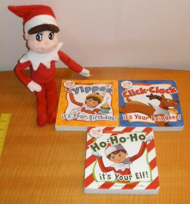 "Lot CCA&B Christmas Holiday ELF on the SHELF 2005 Plush 14"" Doll & 3 Board Books"