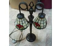 Vintage Tiffany double head table light lamp shades