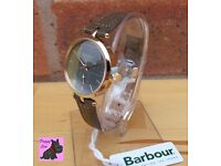 Barbour BB011GDGR Ladies 'Lisle' Grey Leather Strap Watch RRP £150