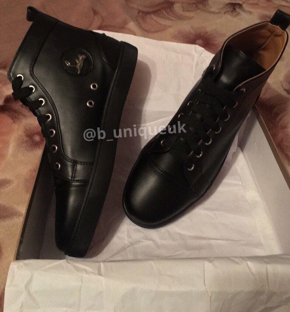 e6d4da3bb0aa Christian Louboutin Black Calf Trainers Fashion Shoes Men s Women s Boys  Girls Loubs Various Size