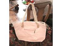 women Leather looking Pink Tote Handbag