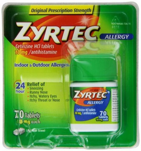 Zyrtec 24 Hour Allergy Relief, 10 MG Tablets, 70ct Antihistamine - EXP: 04/2020