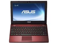ASUS EeePC 1225B netbook laptop in metallic red .. as new condition