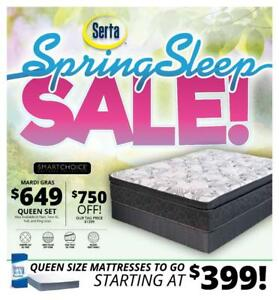 Serta Sales Event! Save Over 50% - Queens Starting At $649. *Bed In A Box Starting at $399*!