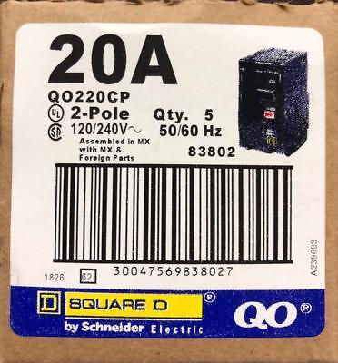 Box Of 5 Square D Qo220cp Qo220 20amp 2 Pole Circuit Breaker