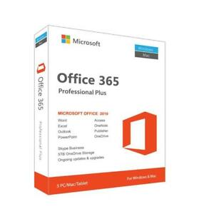 Microsoft Office 365 - Onetime Fee, Instant Delivery - 5 Devices ( PC, MAC, Mobile) Software - Office 2016,  Office 2019