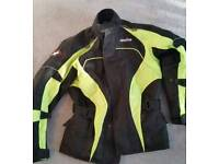 Size M mens motorbike jacket and water proof Textile black ce Armoured and trauser
