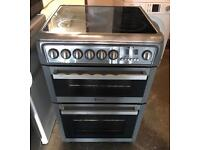 Silver HOTPOINT Ceramic Plate Black Electric Cooker 60cm wide & Fully Working Order