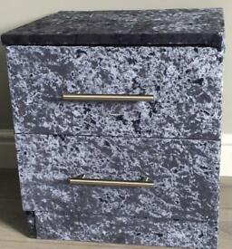 Pair of Crushed Velvet Bedside Cabinets / Tables - Charcoal Grey/Blue - NEW