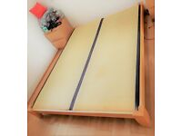 Japanese King Size Double Bed Wood Bed Frame with Tatami Base (Measures L207cm W157cm H26cm)