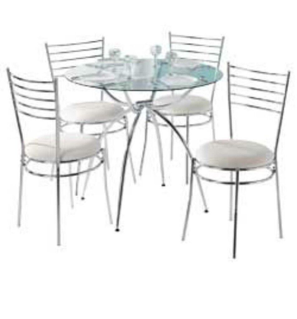 Glass Table And 4 Cream Chairs Open To Offers In Bury