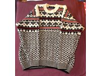 Men's Pure Wool Christmas Jumper by George, Size Large