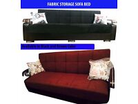 New Fabric Storage Sofa Bed 3 Seater Sleeper Fabric Settee in Black/Brown !!BIG DEAL BUMPER OFFER!!