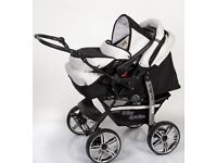 Baby sportive pram eith car seat beige and black