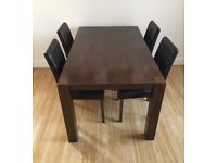 Mango wood Table and 4 chairs