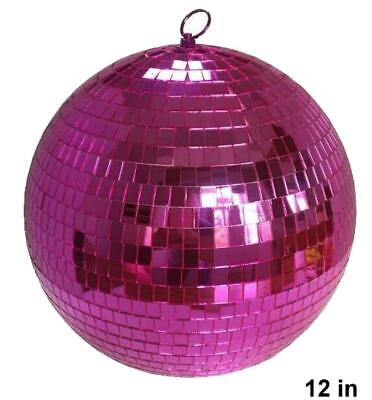 HUGE 12 IN HOT PINK  MIRROR DISCO BALL party supplies reflection mirrors dj](Pink Mirror Ball)