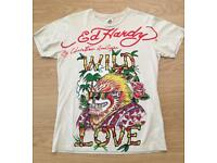 Brand new vintage Ed Hardy men's T-shirt. Cream. Medium. Wild Love design. Decorated in rhinestones