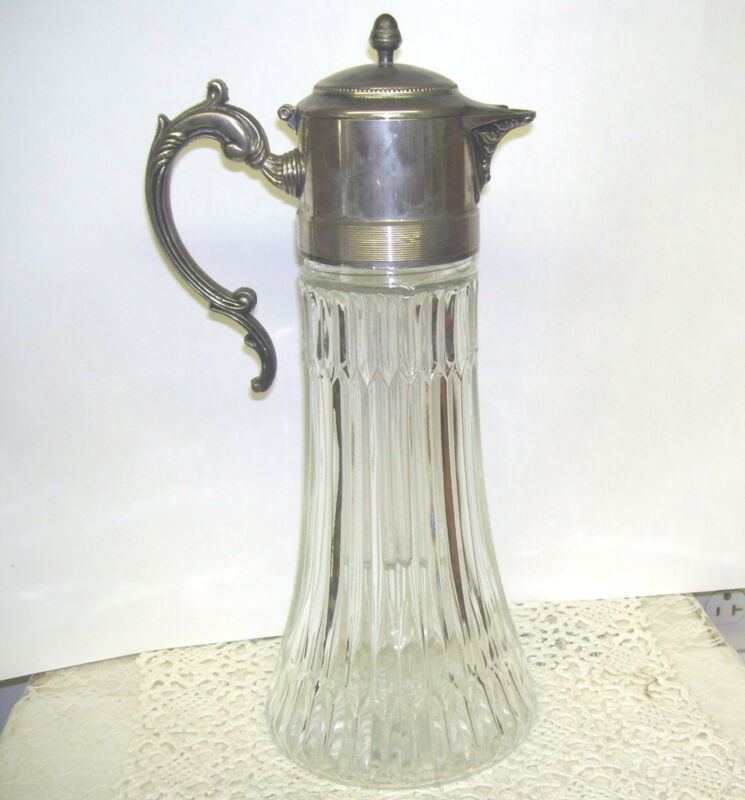 Antique Glass Ewer Pitcher With Silver Lid Carafe