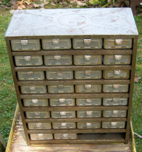 ANTIQUE / VINTAGE ALUMINUM DRAWER ORGANIZER WITH ORNATE PULL TABS / HARDWARE