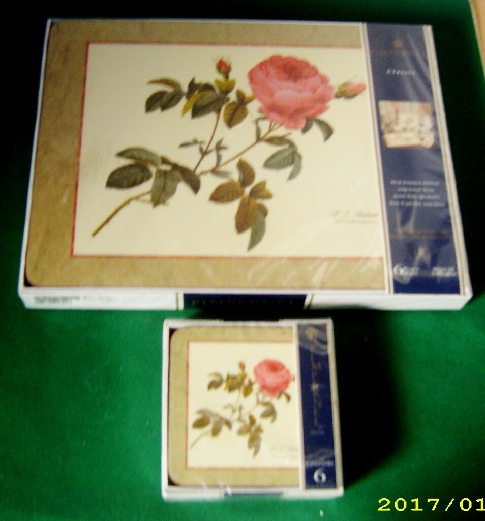 Set of 6 Placemats and Coasters Decorated with Prints by Horticultural Artist Pierre-Joseph Redouté