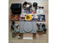 SONY PlayStation 1 + 9 Games + Demo CD + 2 Controllers (one PS, one DualShock) + Memory Card