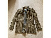 Ladies Jacket Size Medium - Black and Mustard Pockets and 3 front buttons