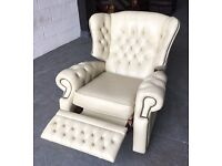 Cream leather Chesterfield recliner chair WE DELIVER UK WIDE