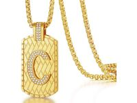 CDE Bling Personalized Initial C Letter 18K Gold Chain for Men