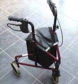 Ultralight Tri-Wheel Walker - Red Aluminium