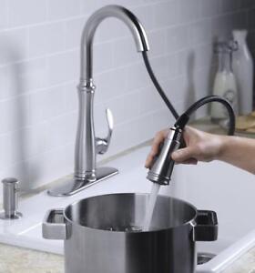 Kohler K-560-VS Bellera Pull-Down Kitchen Faucet, Vibrant Stainless Steel