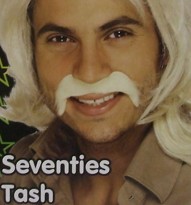 70er Jahre 1970er Kostüm Tash Zum Aufkleben Schnurrbart Blond Neues von (70er Jahre Schnurrbart Kostüm)
