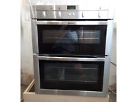 Neff integrated double oven, U17M62NOGB in stainless steel