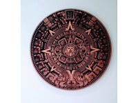 High Detail Wood Carved Aztec Calendar Wall Art
