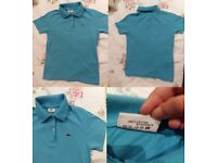LADIES AUTHENTIC LIGHT BLUE LACOSTE TSHIRT, COTTON