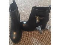 Black Leather Ankle Boots - Size 5 - Brand New
