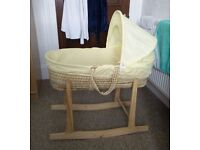 Moses Basket with rocking stand in great condition for sale