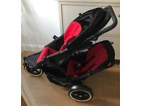 Phil and ted double buggy. Rain cover and cocoon also in pushchair. Pram