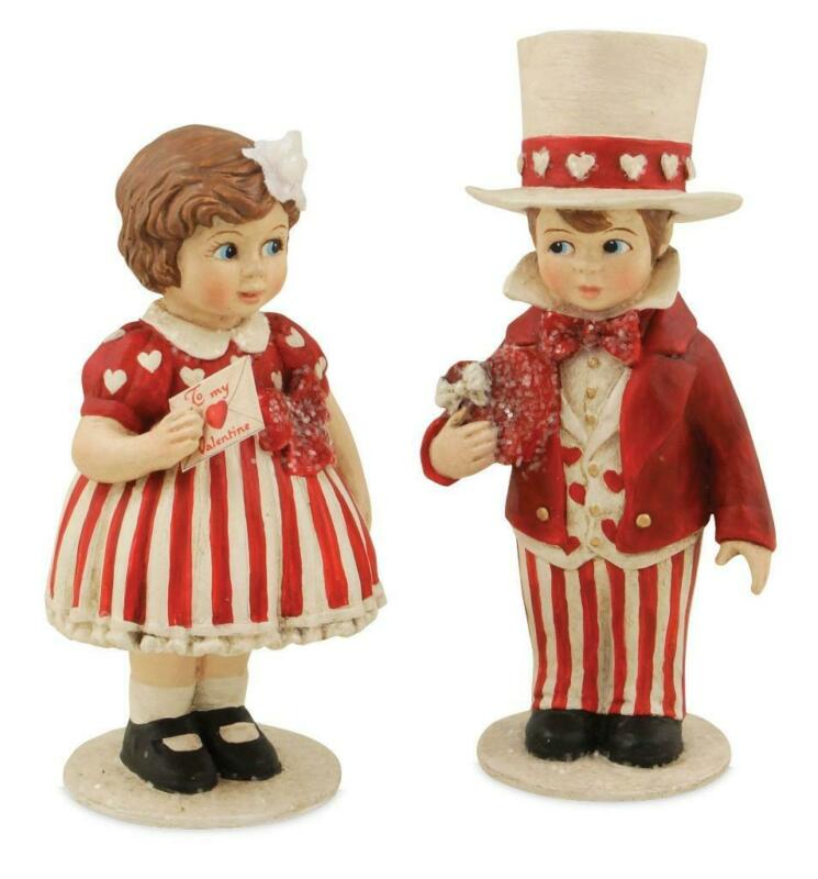 "Bethany Lowe Valentine Sweethearts Boy Girl Red White 5"" Kids Figure Set"