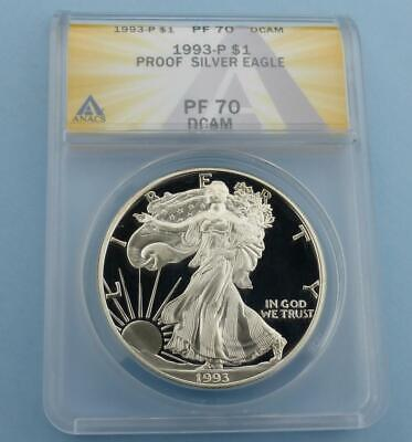 1993 ANACS PF 70 D-Cam Silver Eagle Dollar, Proof 70 Deep Cameo $1, Key Date
