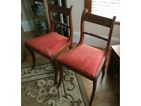 Pair of Brown Victorian Dining Chairs with Terracotta Seatpads