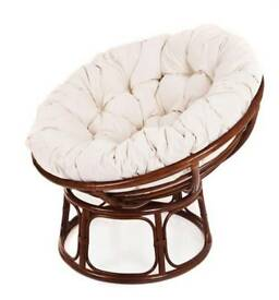 Comfy Papasan Chair in Cream/Pecan