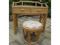 BAMBOO AND WICKER DRESSING TABLE / DESK AND STOOL