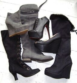 JOB LOT BRONX Bundle high heel platform wedge over knee flat ankle boots shoes size 4