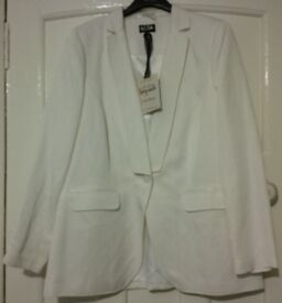 Brand New Marks & Spencer, Per Una Speziale, Ivory Cream Linen Blend Button Blazer Jacket, UK 18