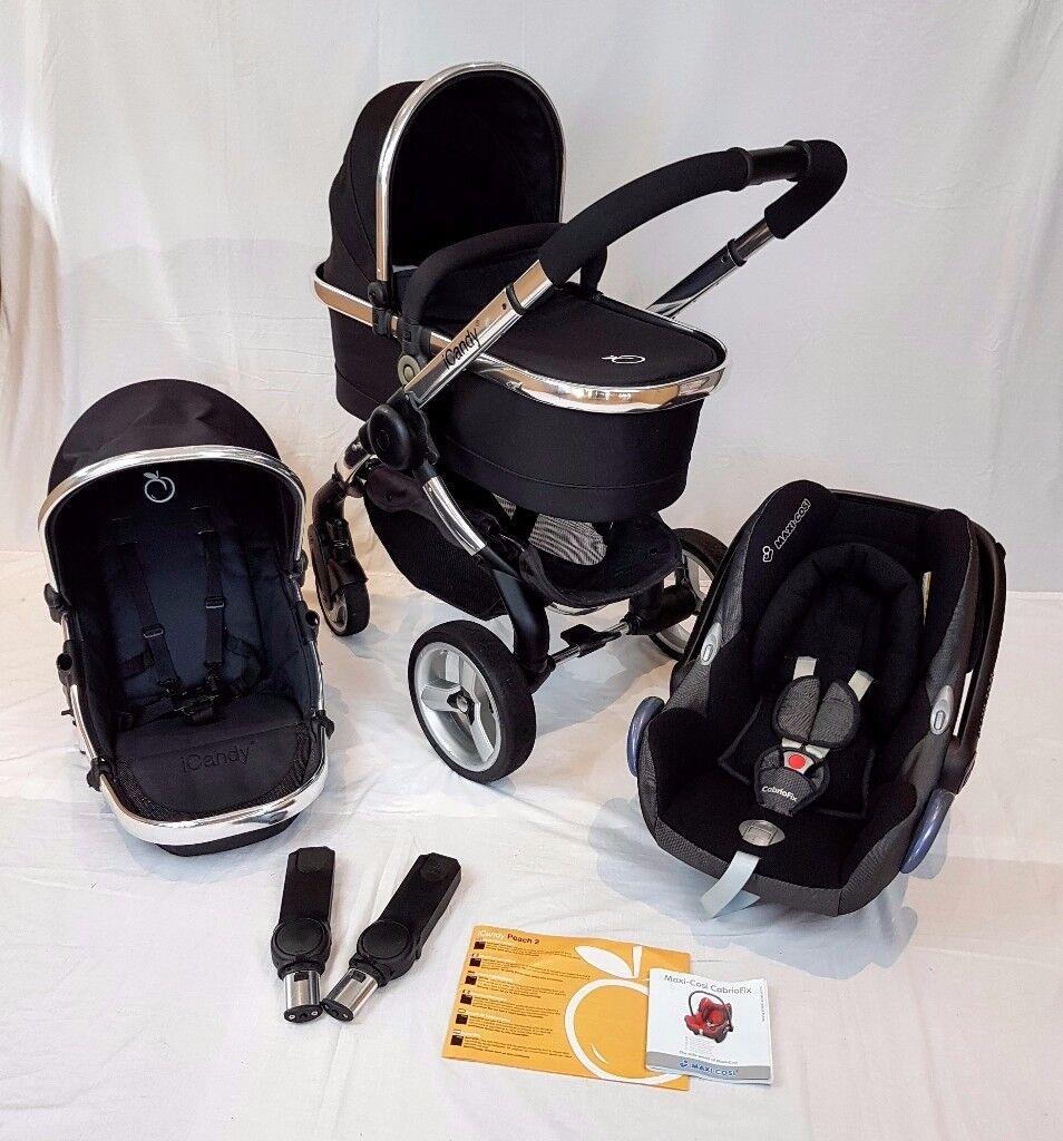 Icandy Peach 2 BLACK MAGIC FULL TRAVEL SYSTEM Inc MAXI COSI Car Seat