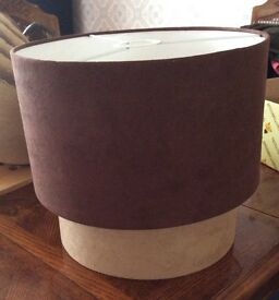 Lamp shade brown and beige suedette style