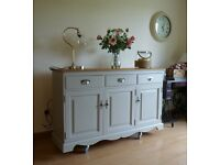 GORGEOUS SOLID PINE SIDEBOARD / DRESSER BASE - HAND PAINTED IN GREY